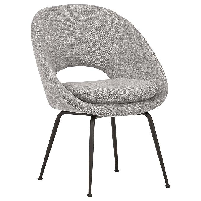 """Rivet Modern Upholstered Orb Office Chair, 24.4"""" W, Light Grey"""