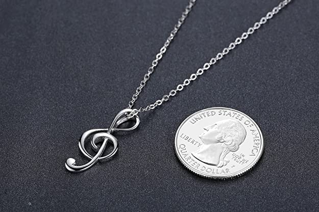 Aoiy Sterling Silver Music Treble Clef Pendant Necklace for Women and Girls, 45cm Chain, zdp003bi