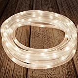 Pure Garden 50-LG1009 Outdoor Rope Solar Powered Cable String 100 LED Lights with 8 Modes for Patio, Backyard Garden, Events (Warm White)