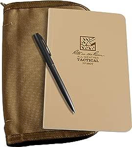 "Rite In The Rain Weatherproof Tactical Field Kit: Tan Cordura Fabric Cover, 4 5/8"" x 7 1/4"" Tan Tactical Notebook, and Weatherproof Pen (No. 980T-KIT)"