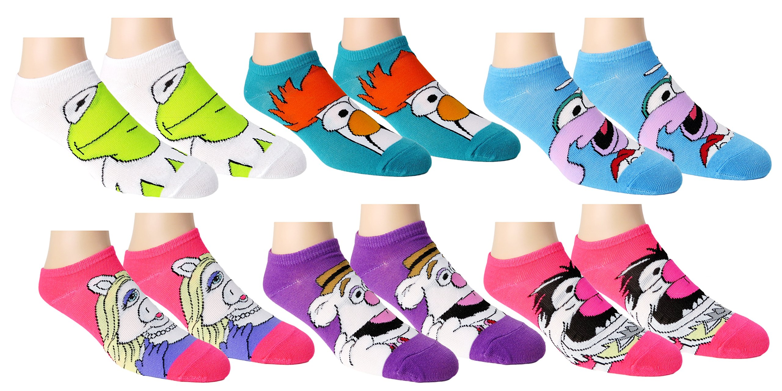 Disney Womens Muppets Ankle-No Show Socks 6 Pair Pack (One Size, Muppet Multi-color)