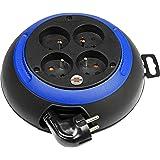 Brennenstuhl Design-Box, Enrouleur électrique 4 prises (avec empreintes ergonomiques sur le boîtier pour faciliter l'enroulement / câble 3m) coloris: noir / bleu