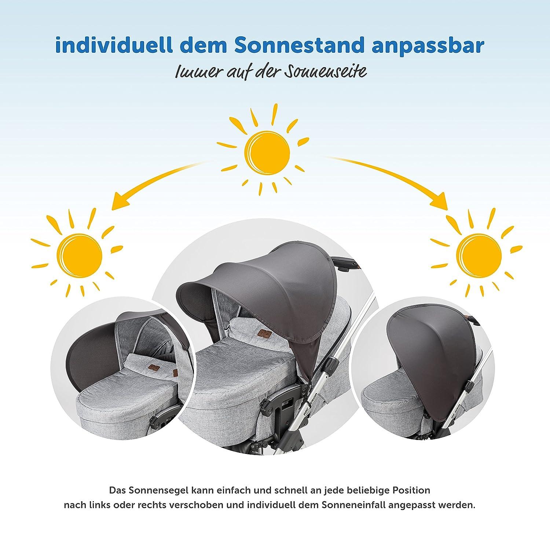 capazos y sillas de paseo Zamboo Toldo Pop Up XL // Protector solar Universal para cochecitos Parasol con protecci/ón UV 40+ y funda Gris oscuro