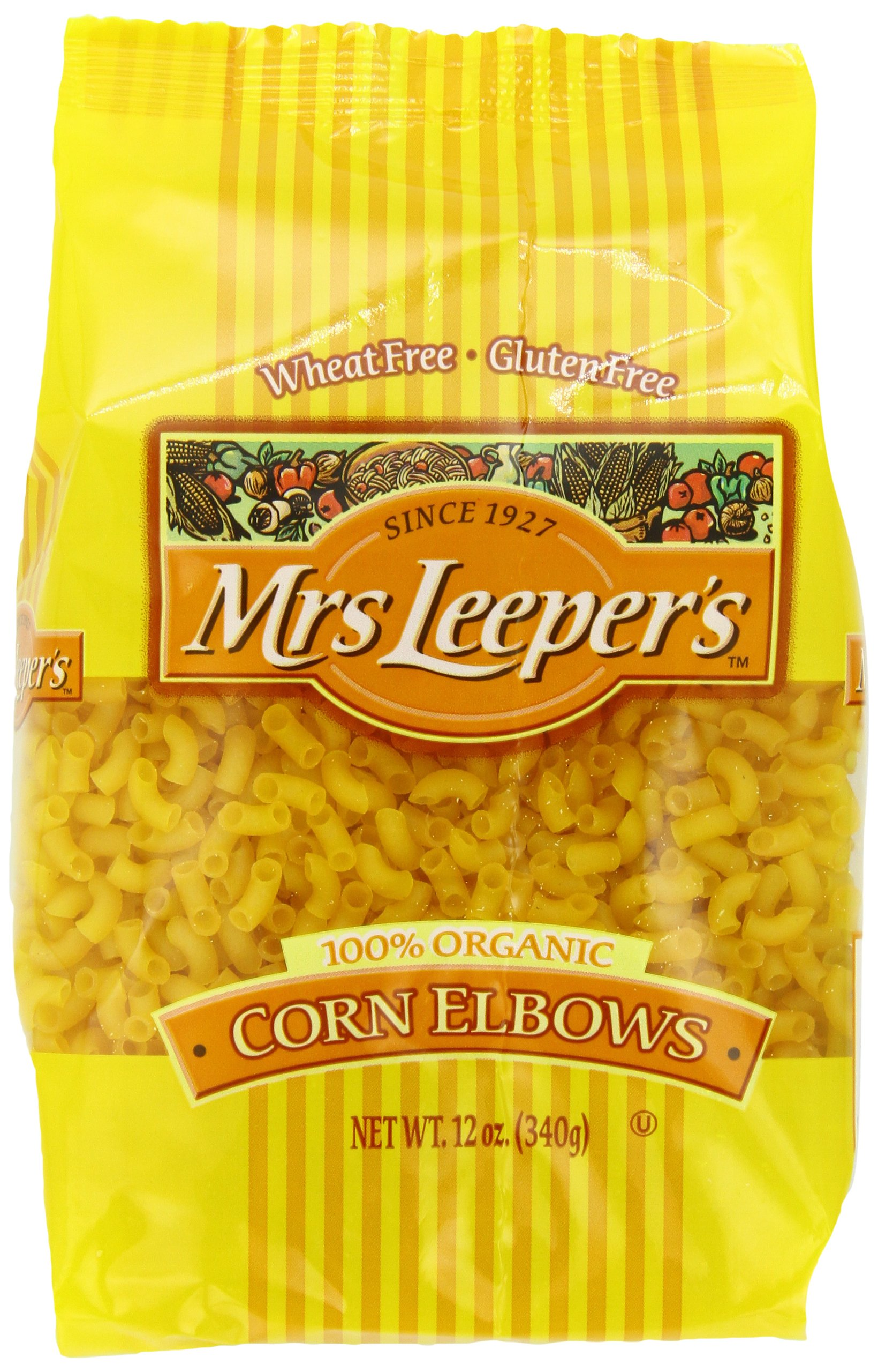 Mrs. Leeper's Pasta Organic, Corn Elbows, 12-Ounce Bags (Pack of 12)