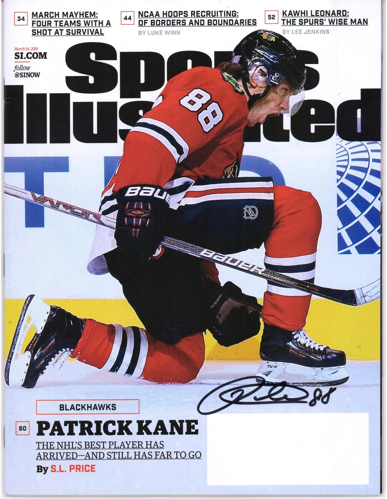 Patrick Kane Chicago Blackhawks Autographed March 14, 2016 Sports Illustrated Magazine Fanatics Authentic Certified