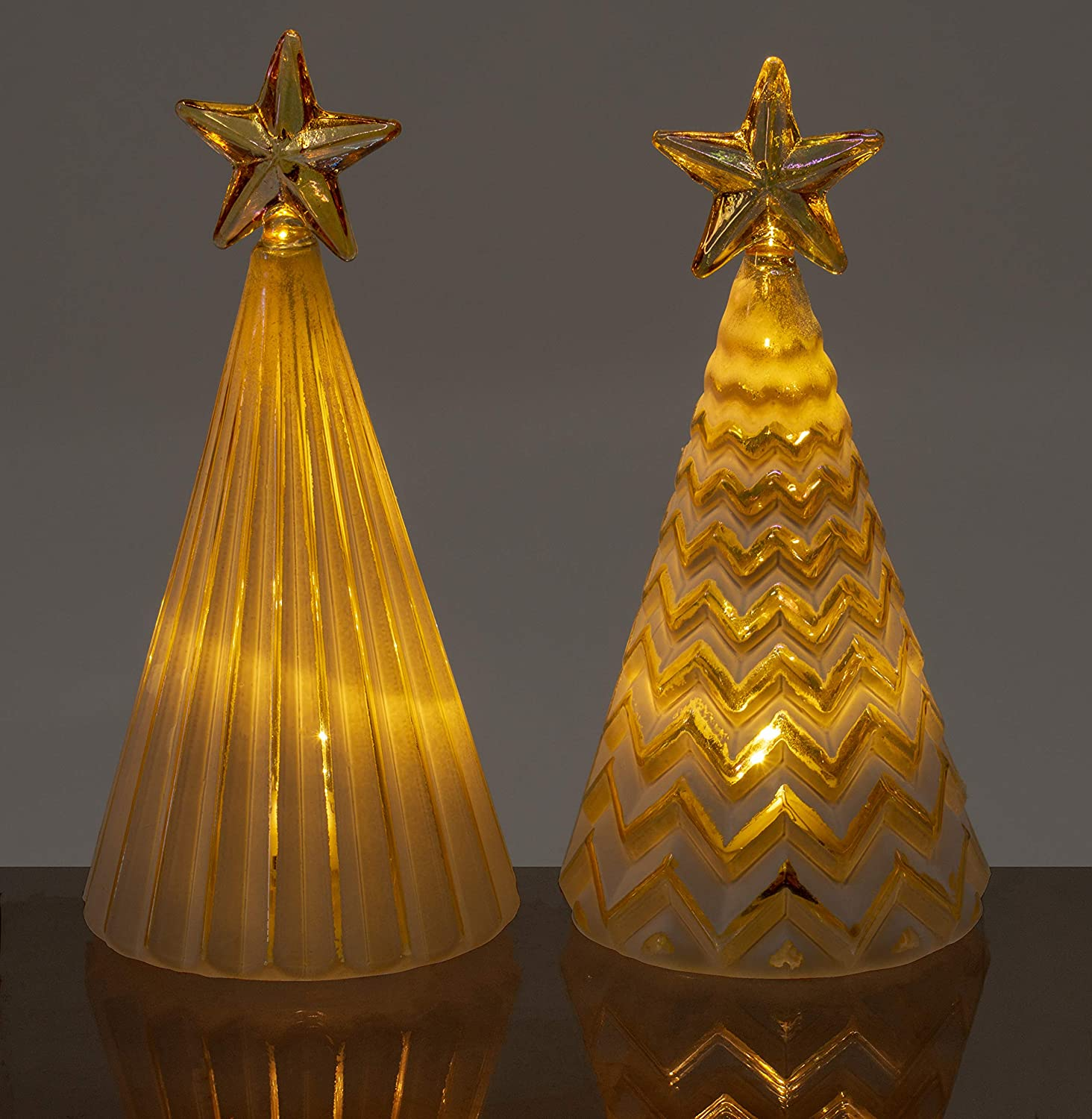 Red Co. Glass Christmas Tree Figurine Ornaments with Gold Star, Light-Up Holiday Season Decor, 5 Inches, Set of 2