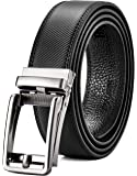 Men's Leather Ratchet Belt Dress with Slide Click Buckle – Trim to Exact Fit-Gift Box