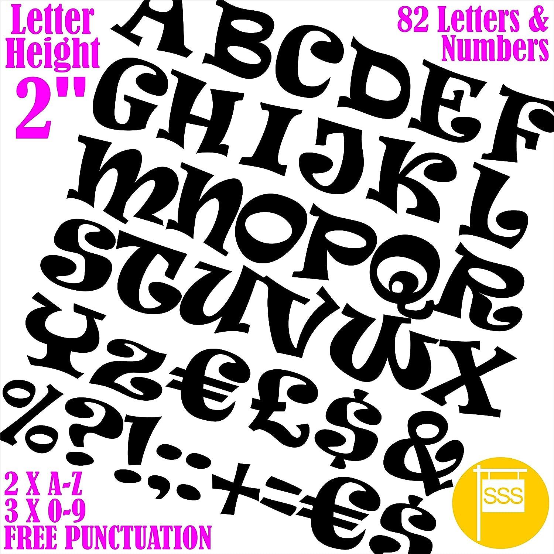 82nero lettere e numeri autoadesivi in vinile impermeabile font Ravie per qualsiasi progetto finestra muro ufficio negozio casa Boards Tool box free punteggiatura SmartSignsSolutions