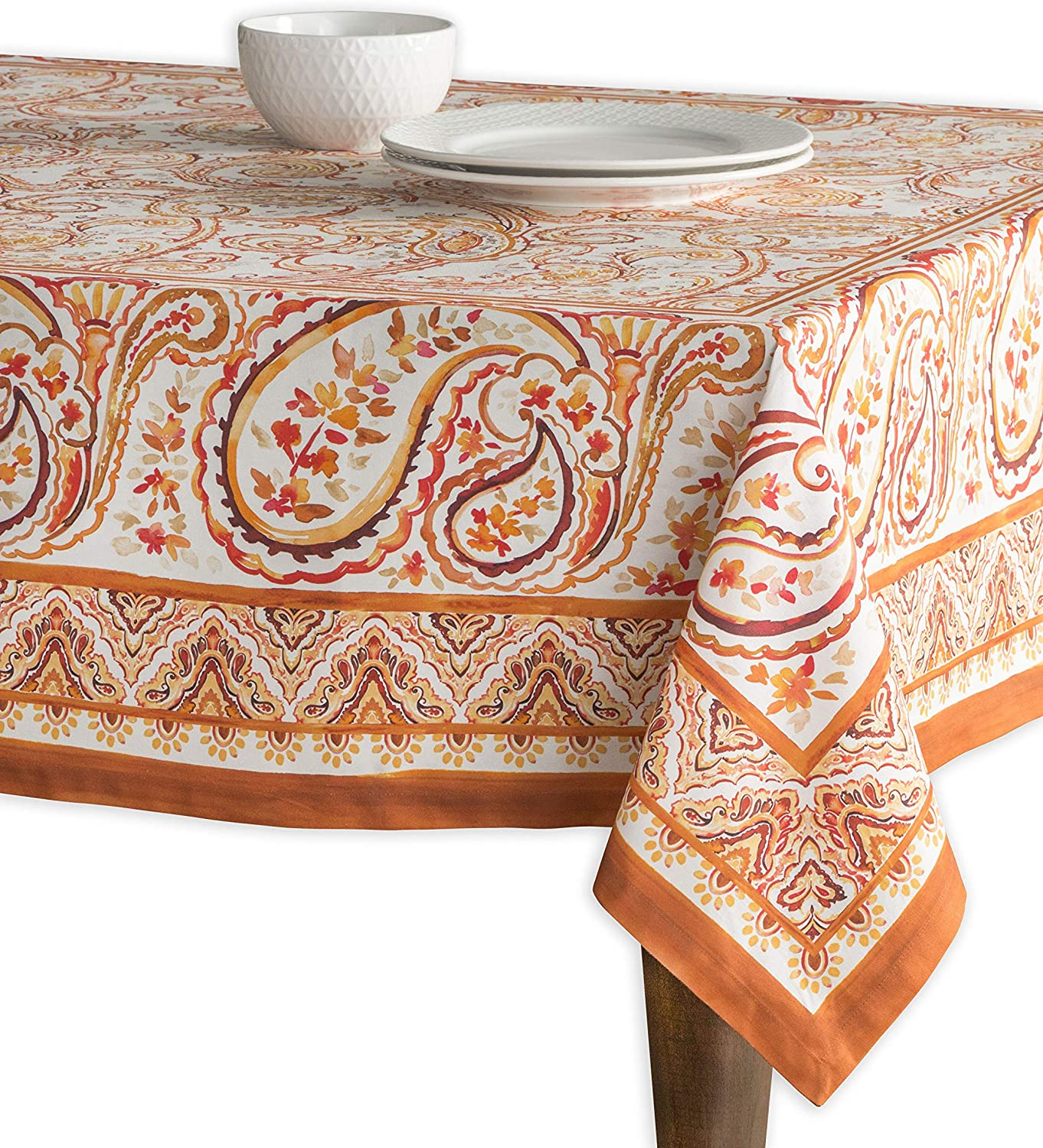Maison d' Hermine Palatial Paisley 100% Cotton Tablecloth for Kitchen Dinning Tabletop Decoration Parties Weddings Thanksgiving Christmas (Rectangle, 60 Inch by 120 Inch)