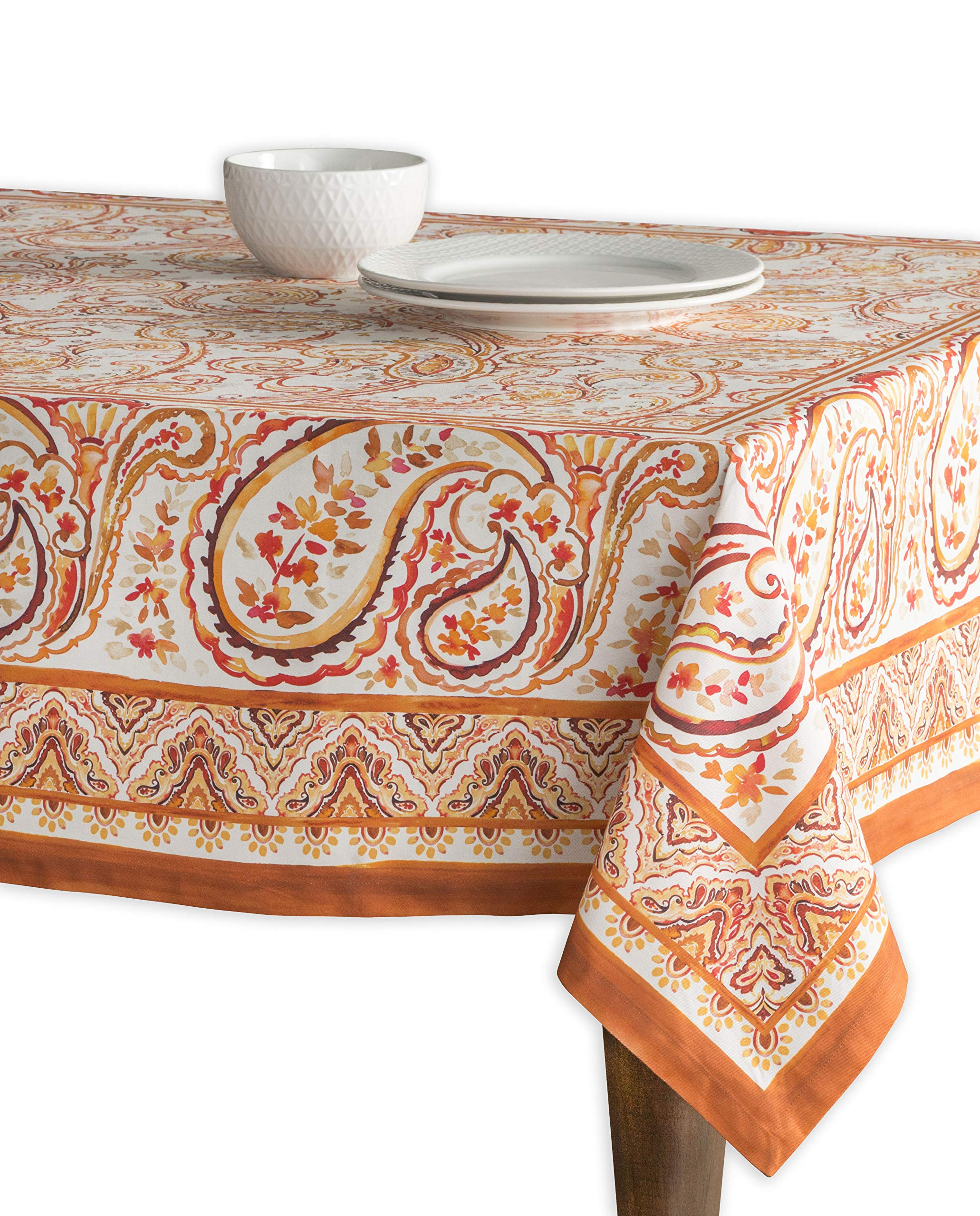 "Maison d' Hermine Palatial Paisley 100% Cotton Tablecloth 60 - Inch by 108 - Inch. - Designed in Europe CHRISTMAS CLEARANCE SALE - SPECIAL DISCOUNT PRICE. This Palatial Paisley tablecloth featured in the list of HOUSE BEAUTIFUL's ""16 Thanksgiving Tablecloths You'll Want To Keep Year Round"". 100% Cotton & Machine Washable. Package Includes : 1 Tablecloth - tablecloths, kitchen-dining-room-table-linens, kitchen-dining-room - 91pjiEF8U0L -"
