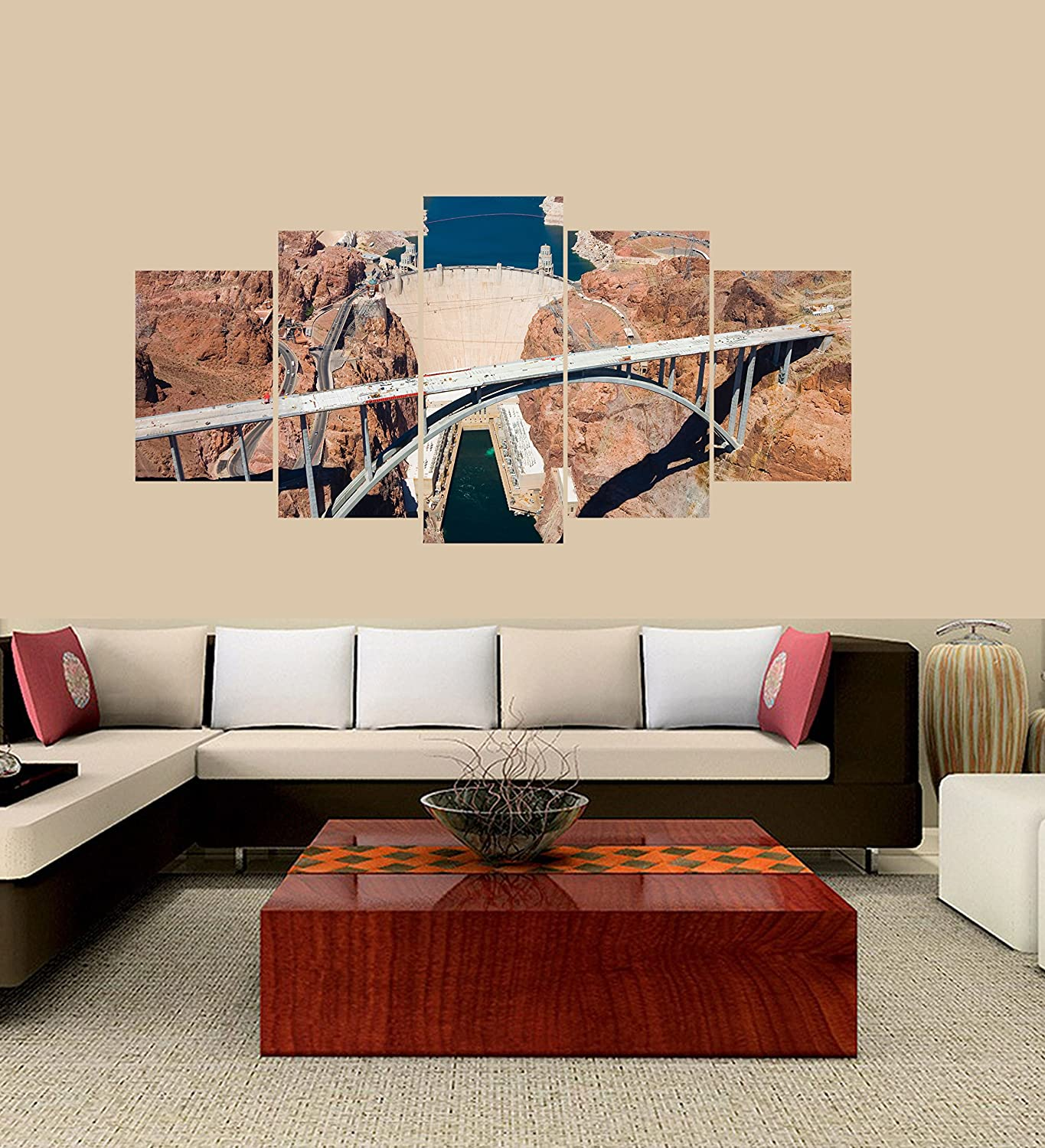 PEACOCK JEWELS [Medium] Premium Quality Canvas Printed Wall Art Poster 5 Pieces / 5 Panel Wall Decor Hoover Dam Bridge Painting, Home Decor Pictures - with Wooden Frame