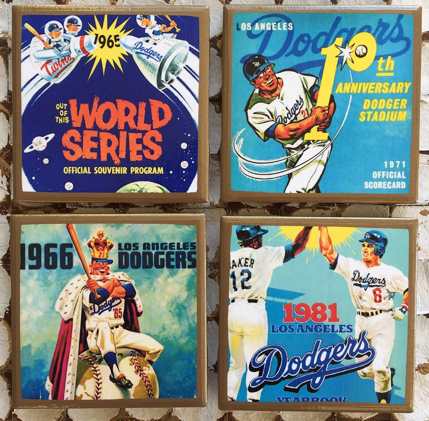 Vintage LA baseball program cover coasters with gold trim