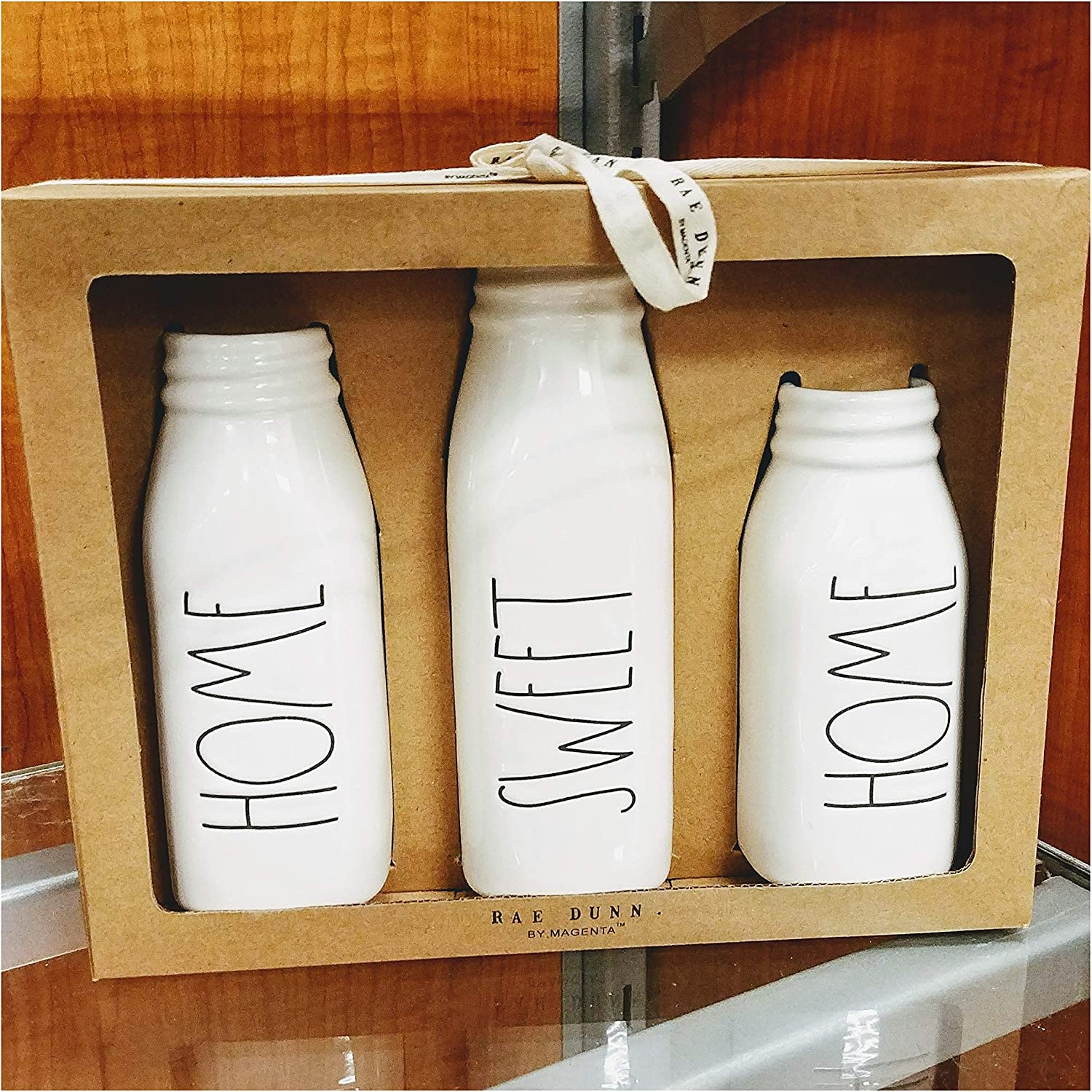 Rae Dunn Artisan Collection Home Sweet Home Flower Vases Set - Farmhouse Milk Bottle Style