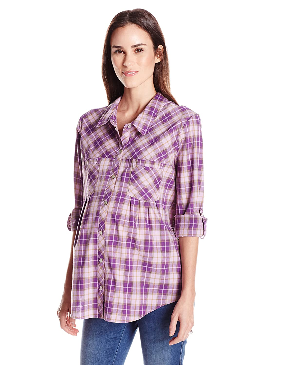Everly Grey Womens Maternity Batina Long Sleeve Button Up Collared Maternitytop Everly Grey - Kalia Partners T791