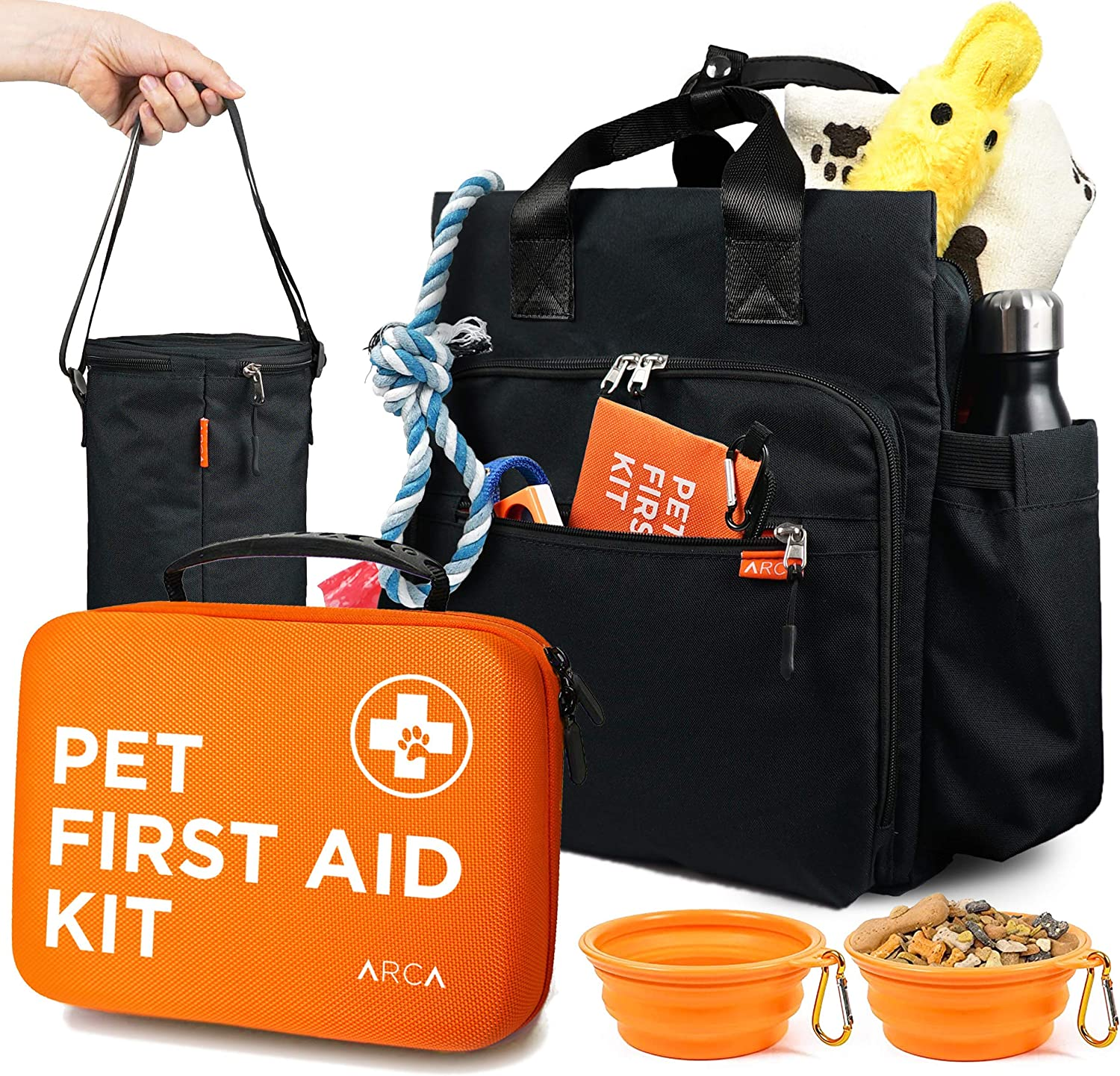ARCA PET Cat & Dog First Aid Kit with Pet Travel Backpack -1 Large Dog Food Bag, 2 Collapsible Bowls - Emergency Collar and Pet Thermometer & Bonus Mini Pouch [100 Pieces]