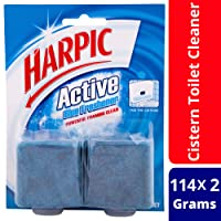 Harpic Active Blue Freshener Foaming Toilet Block Twin, 114g (Pack of 2)