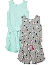 Amazon Brand - Spotted Zebra Girls' Toddler & Kid 2-Pack Knit Sleeveless Tank Rompers