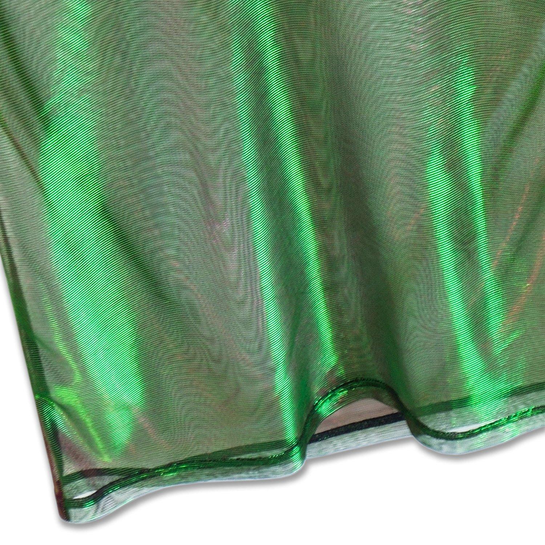 Perfashion colorful Fine Mesh Shirt Metallic Shimmer See Through Shirt For Women, Green Red, X-Large by Perfashion (Image #7)