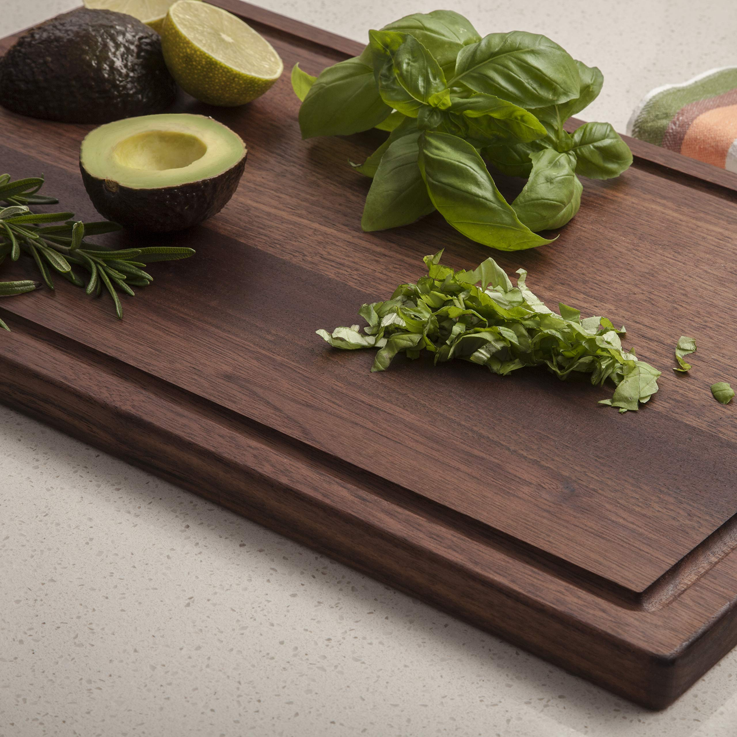 Boilton Large Walnut Wood Cutting Board - 17x11 with Juice Drip Groove, Big American Hardwood Chopping and Carving Countertop Block by Boilton (Image #6)