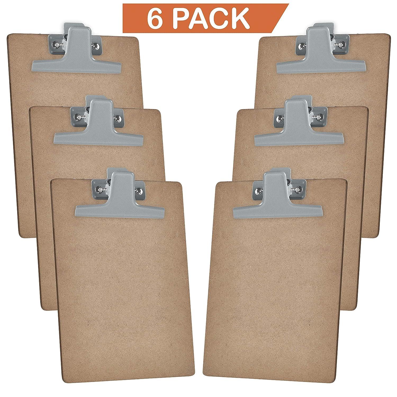 Acrimet Clipboard Letter Size A4 Premium Metal Clip (Hardboard) (6 Pack) (Silver Clip) 115.1