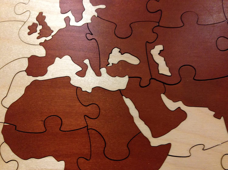World Map Alternative Wedding Guest Book Box Puzzle