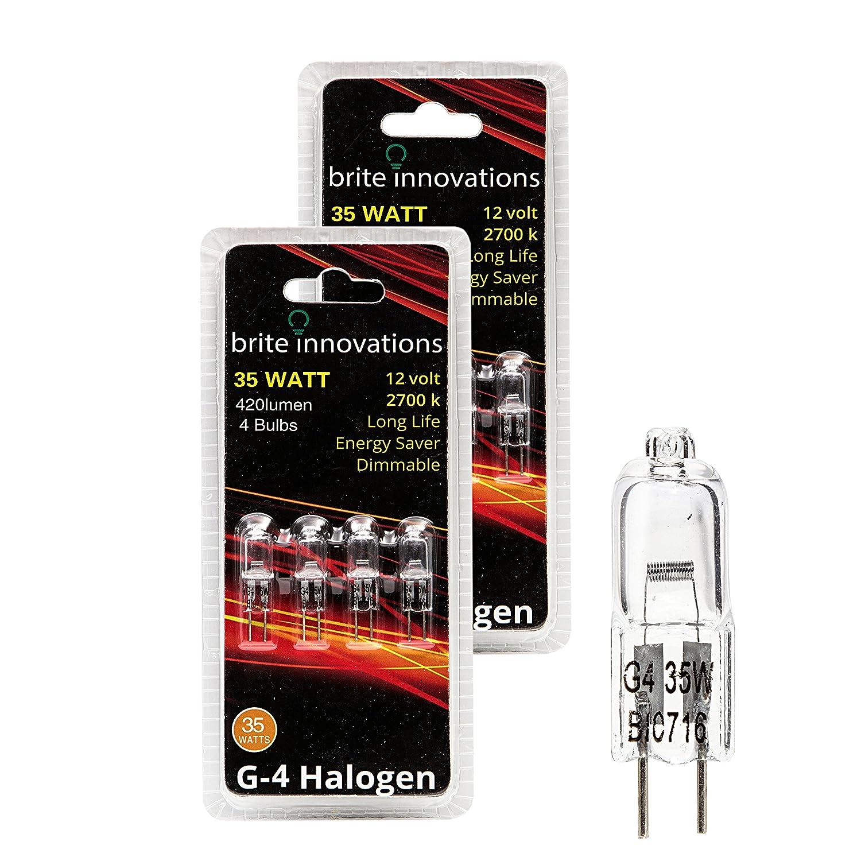 Brite Innovations G4 Halogen Bulb 35 Watt 8 Pack Dimmable Soft White 2700K 12V Bi Pin T3 JC Type Clear Light Bulb