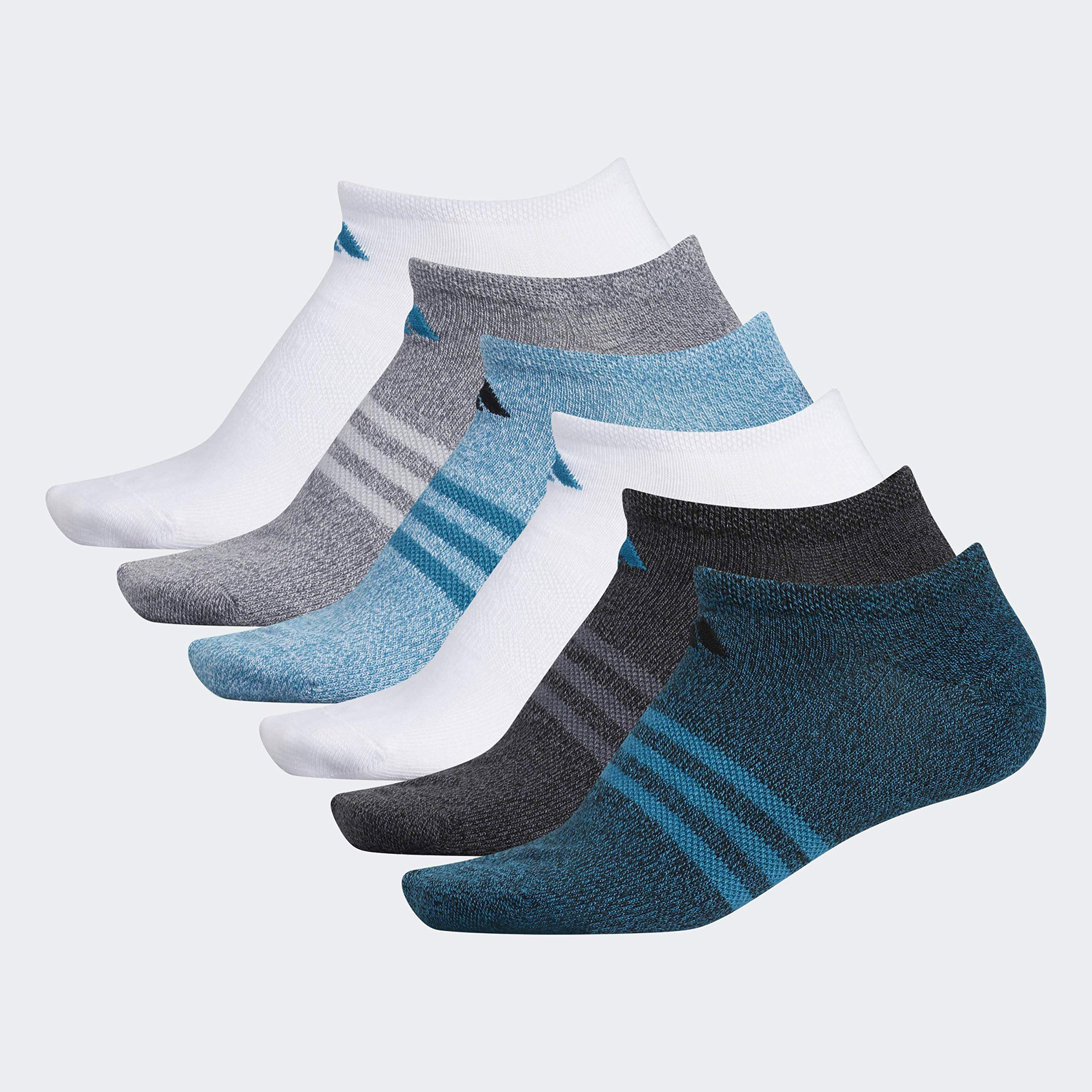 adidas Women's Superlite No Show Socks (6-Pair), Black - Active Teal Marl/Black - Onix Marl/White/Activ, Medium, (Shoe Size 5-10) by adidas