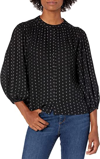 Goodthreads Amazon Brand Women's Fluid Twill Volume-Sleeve Poet Shirt