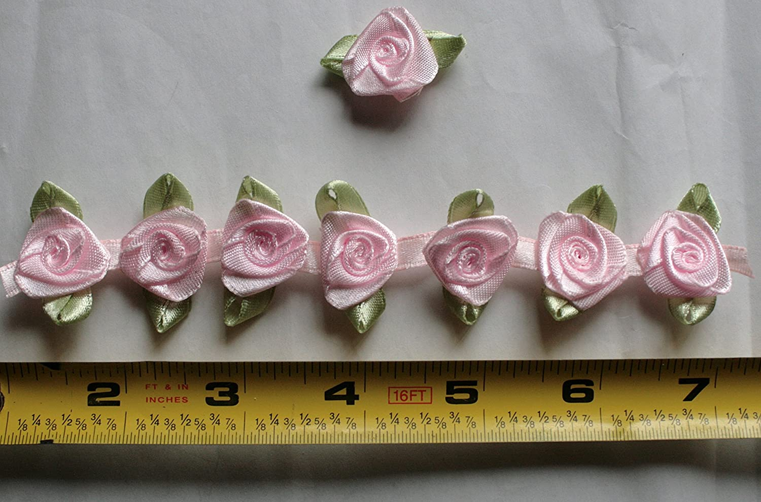 Fabric Satin Ribbon Rose Flower On The Ribbon String , 3/4