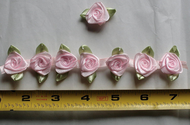Fabric Satin Ribbon Rose Flower On The Ribbon String , 3/4