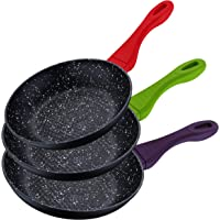 Jeu de 3 casseroles en pierre de lave, poignées colorées au toucher doux, kit de batterie, fond de batterie de cuisine résistant aux rayures, adapté aux plaques à induction 2525