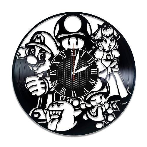 Super Mario Vinyl Clock, Super Mario Home Decor, Super Mario , Super Mario  Videogame