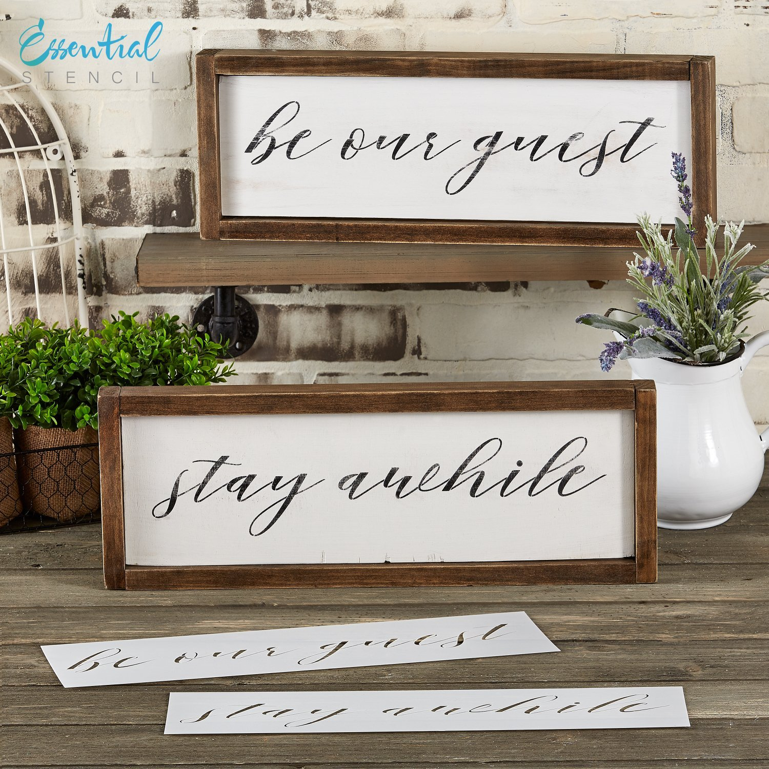 Be Our Guest Stay Awhile Calligraphy Stencil Set Perfect For