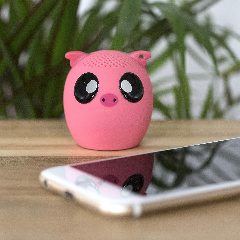 altavoz inalambrico recargable con forma de cerdo, color rosa
