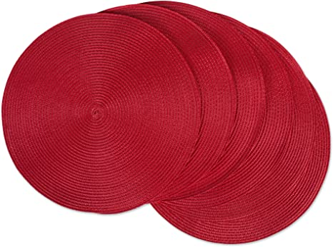 Amazon Com Dii Classic Woven Round Placemat For Indoor Outdoor Table Settings Everyday Use Family Dinners Or Holidays 15 Diameter Tango Red 6 Count Furniture Decor