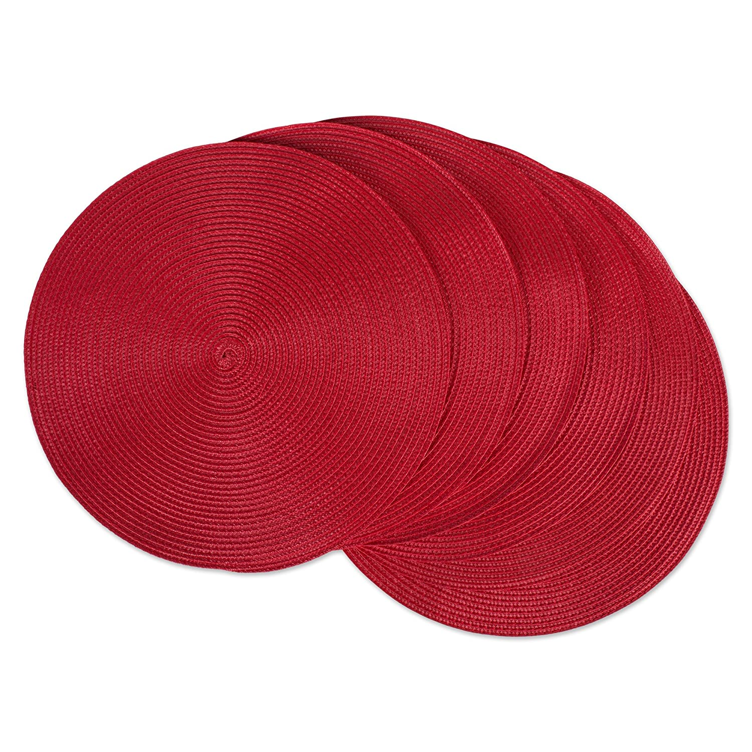 """DII, Classic Round Placemats, Woven, Set of 6, 15"""" Diameter, Tango Red"""