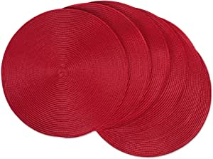 Dii Classic Woven Round Placemat For Indoor Outdoor Table Settings Everyday Use Family Dinners Or Holidays 15 Diameter Tango Red 6 Count Furniture Decor Amazon Com