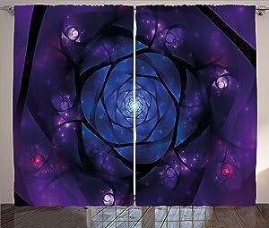 "Ambesonne Mandala Curtains, Mystical Psychedelic Universe Flower in Space Motif Art Print, Living Room Bedroom Window Drapes 2 Panel Set, 108"" X 63"", Purple Blue"