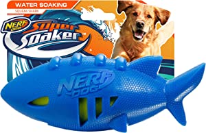 Nerf Dog Shark Football Dog Toy with Interactive Squeak and Crunch, Lightweight, Durable and Water Resistant, 7 Inch Diameter for Medium/Large Breeds, Single Unit, Blue