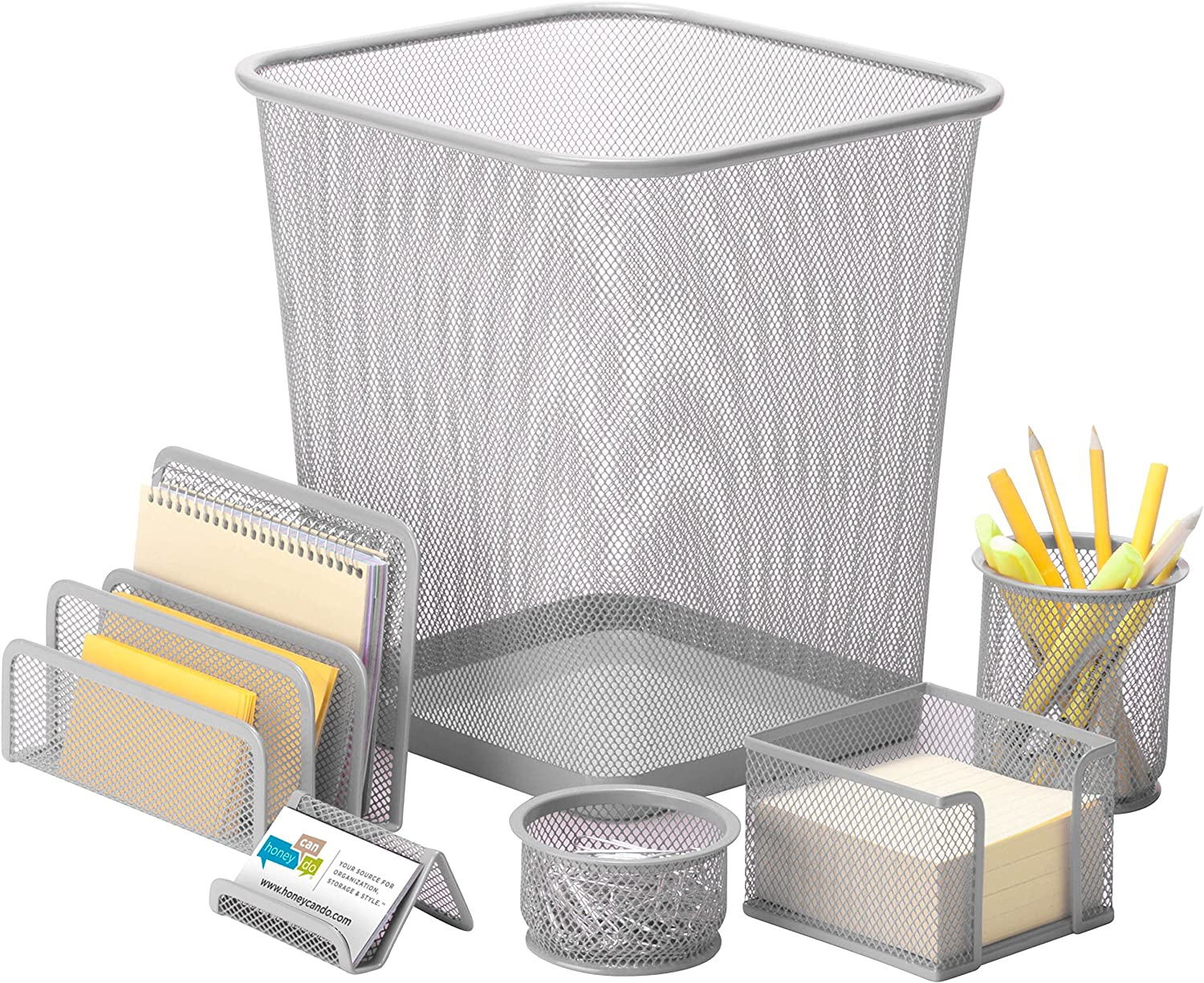 "Honey-Can-Do OFC-06206 6-Piece Mesh Desk Set, Silver, 10.8L x 12.4H, 10.8"" x 12.4"","