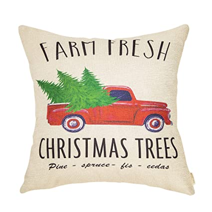 fahrendom rustic farmhouse style farm fresh christmas trees vintage red truck winter holiday sign cotton linen