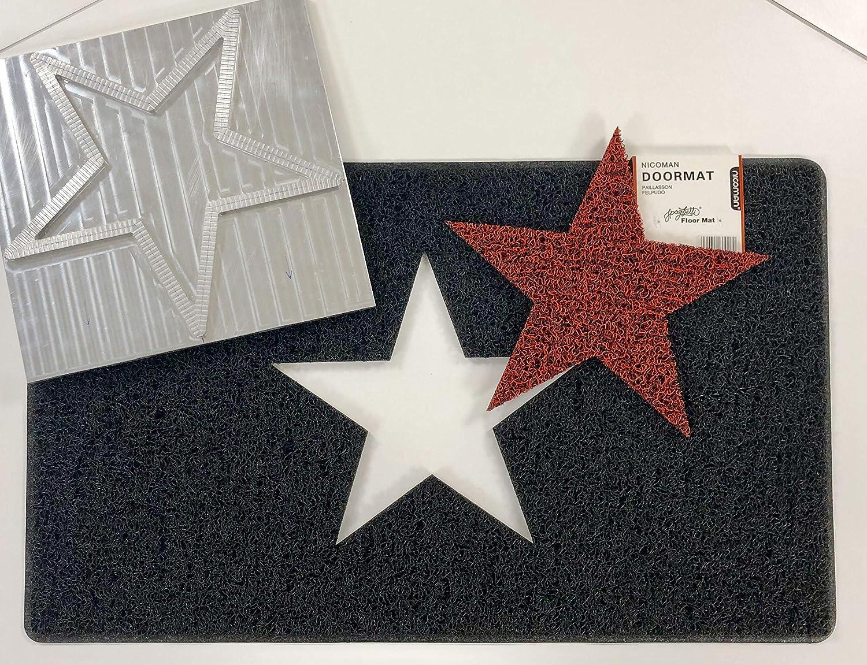 Black with Grey Star 75x45cm Alfombrilla de Suelo para jard/ín 26 x16 dise/ño de Estrella Color Gris y Rojo Nicoman Spaghetti 75 x 45 cm