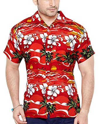 7c886e4b CLUB CUBANA Men's Slim Fit Classic Short Sleeve Casual Floral Hawaiian Shirt  S Red