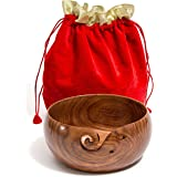 """Hagestad Yarn Bowl -8""""x4"""" Rosewood Wooden with Free Travel Pouch Bundle. Extra Large. Perfect for Knitting & Crocheting"""