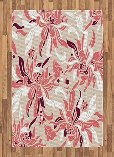 Amazon Com Ambesonne Floral Area Rug Cute Swirled Florets In