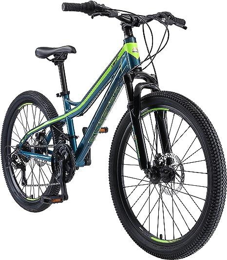 BIKESTAR Bicicleta de montaña de Aluminio Bicicleta Juvenil 24 Pulgadas de 10 a 13 años | Cambio Shimano de 21 velocidades, Freno de Disco, Horquilla de suspensión | niños Bicicleta Azul Verde: