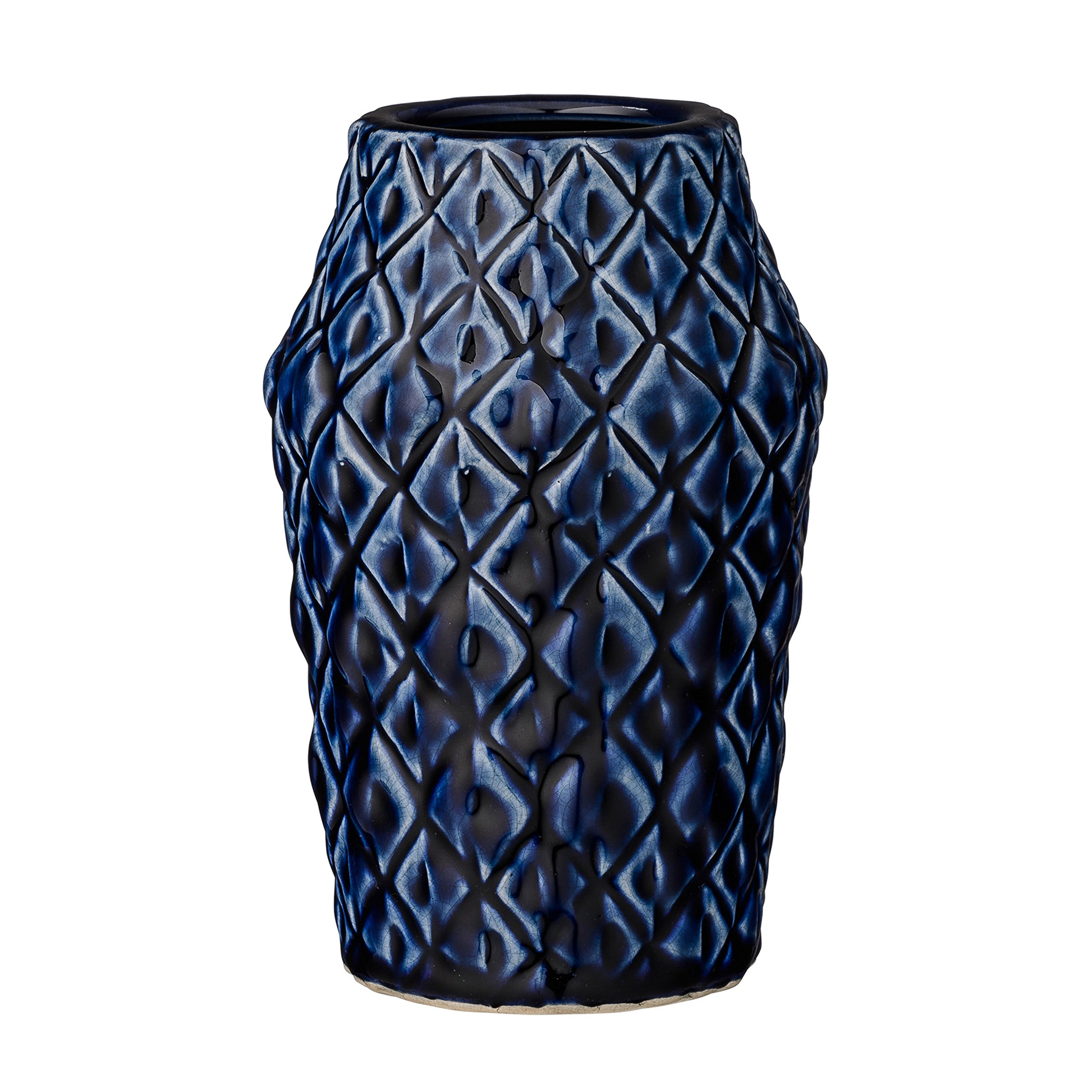 Bloomingville A27120013 Navy Patterned Ceramic Vase