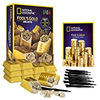NATIONAL GEOGRAPHIC Fool'S Dig Kit – 12 Gold bar Dig Bricks with 2-3 Pyrite Specimens...