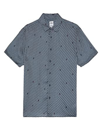 624fc3e6 Zara Men Logo Print Shirt 4124/599 White at Amazon Men's Clothing store: