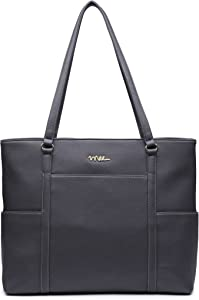 NNEE Classic Laptop Leather Tote Bag for 15 15.6 inch Notebook Computers Travel Carrying Bag with Smart Trolley Strap Design - Dark Gray